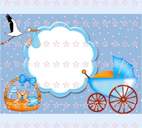 Шаблон для открытки с новорожденным 564